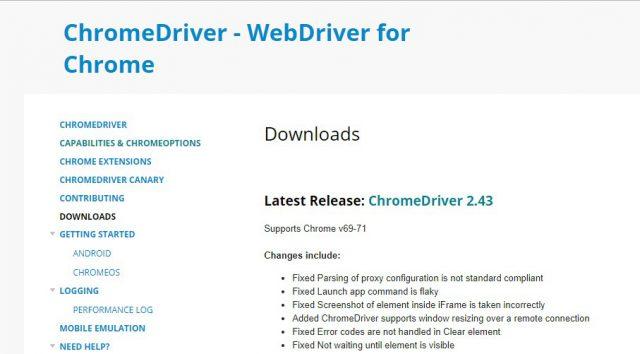 ChromeDriverをダウンロードして C:\driver に保存